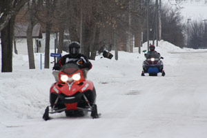 Snowmobiling on icey snow