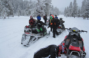 Snowmobiling on wet snow