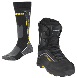 Snowmobiling boots and socks