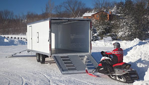 Transporting your snowmobile using an enclosed trailer