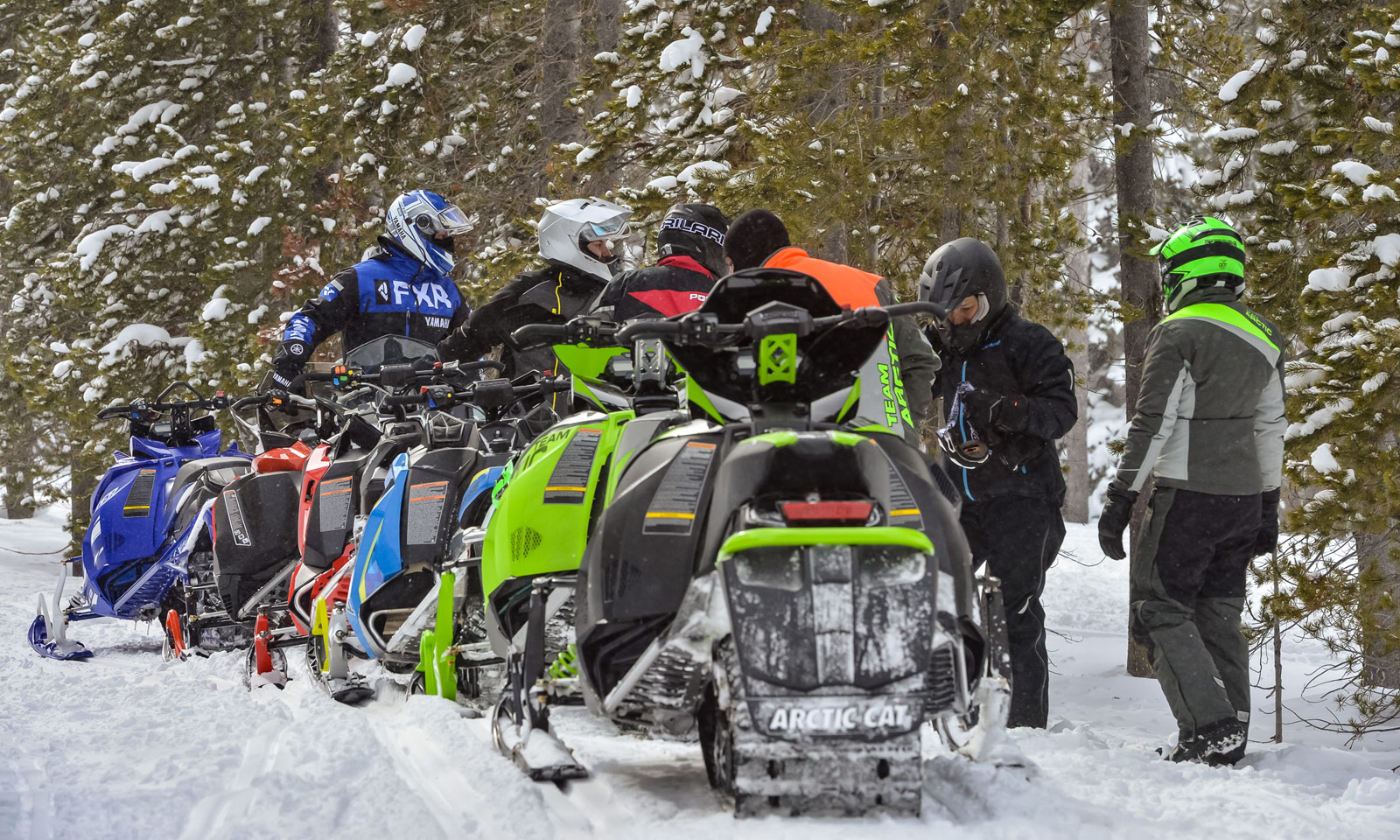 Line of snowmobiles showing their tracks