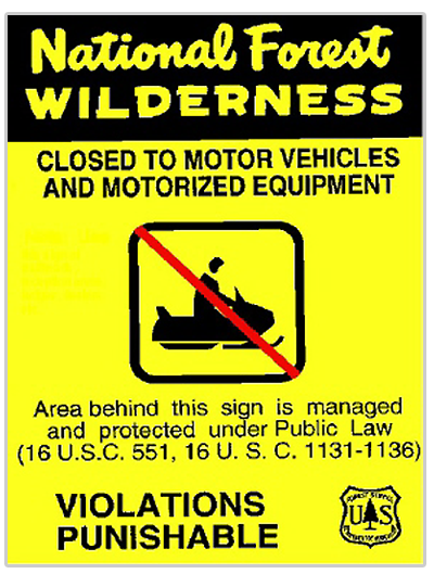 No snowmpbiling allowed sign for national forest