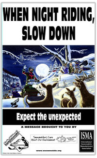 Snowmobiling at night poster