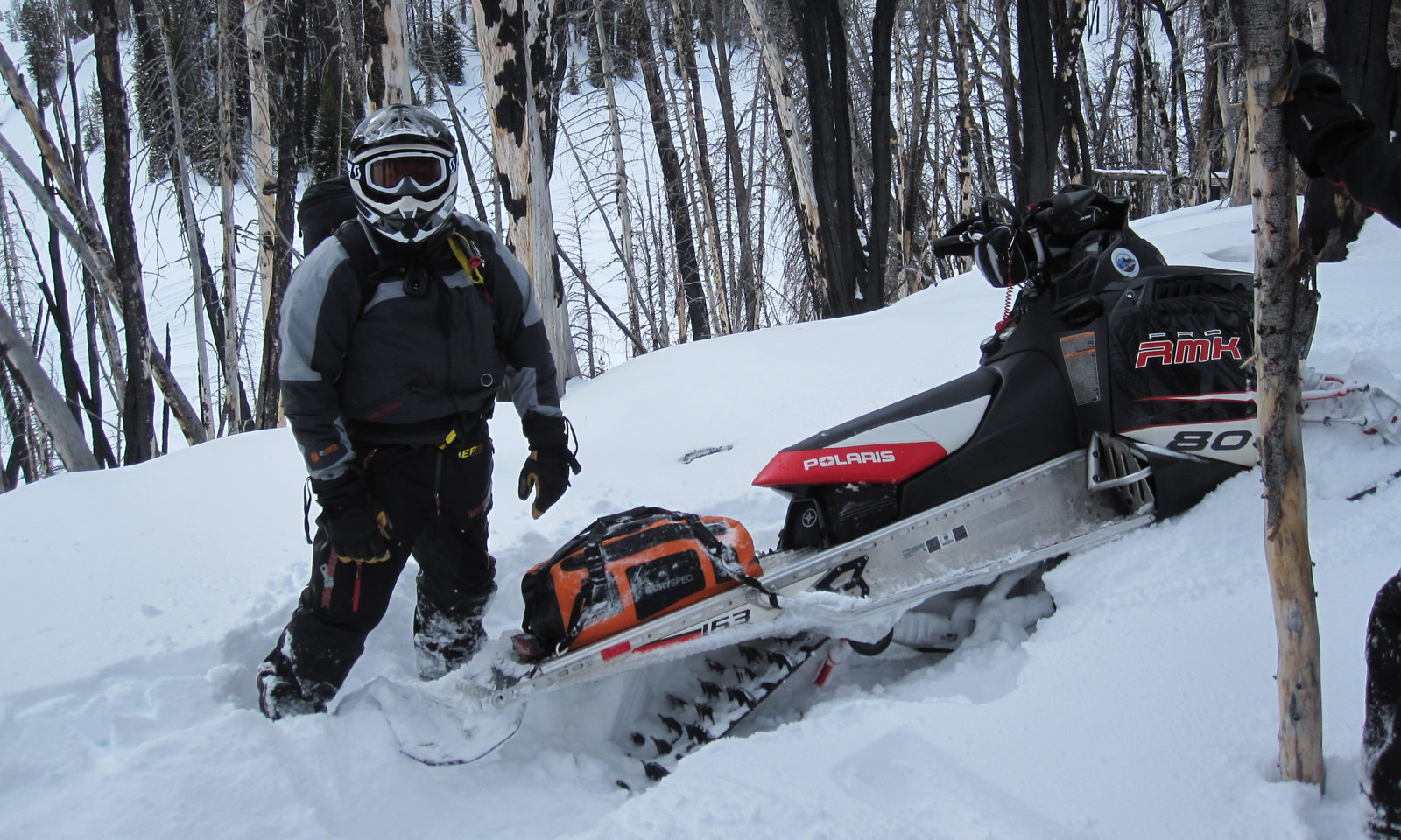 Snowmobile in snowbank