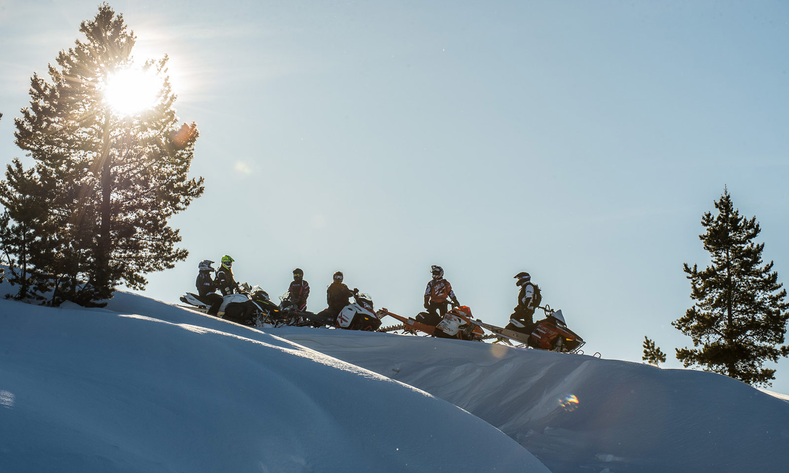 Snowmobilers on top of sunny slope